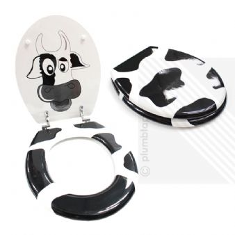 MDF Cow Print Novelty Toilet Seat with Chrome Metal Bottom Fixing Hinges